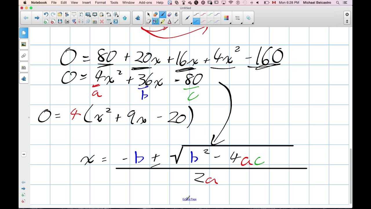 Solving Quadratic Word Problems With Area Grade 11