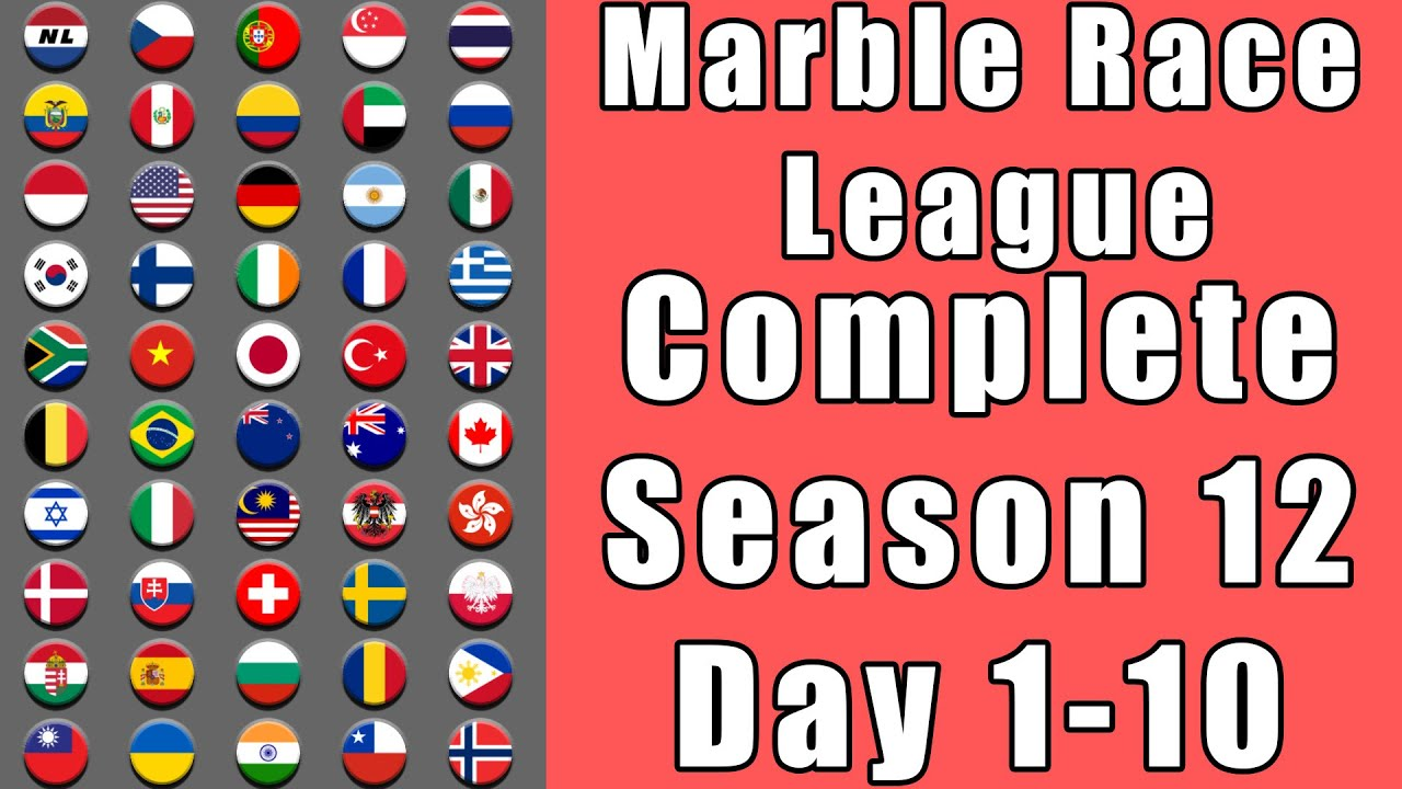 Marble Race League 2020 Season 12 Complete Race Day 1-10 in Algodoo / Marble Race King
