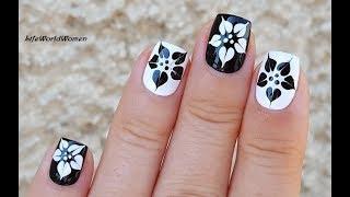 Black & White Nails: Dry Marble Flower Nail Art