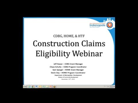 CDBG Construction Claims and Program Delivery Eligibility Changes Webinar