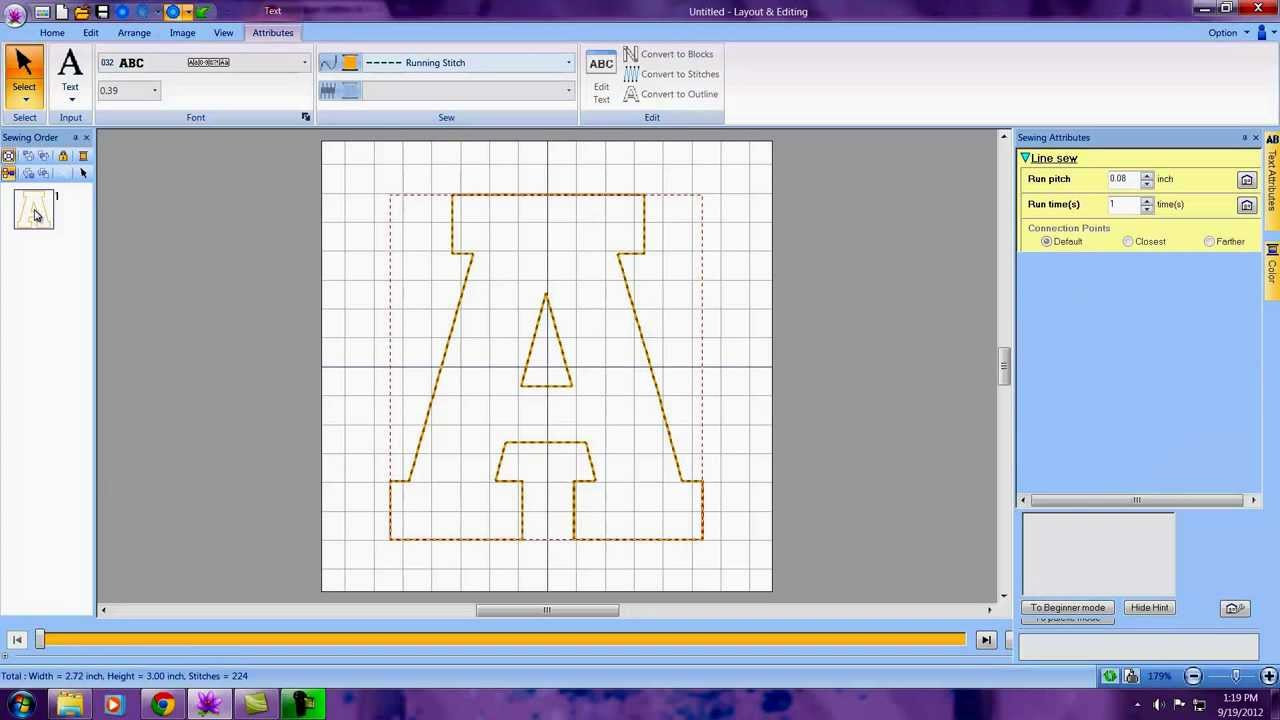 creating an applique letter in pe design next