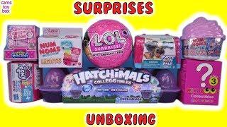 Surprise Toys Unboxing NUM NOMS 4 LOL EYE SPY Puppy Dog Pals My Little Pony Hatchimals for KIDS