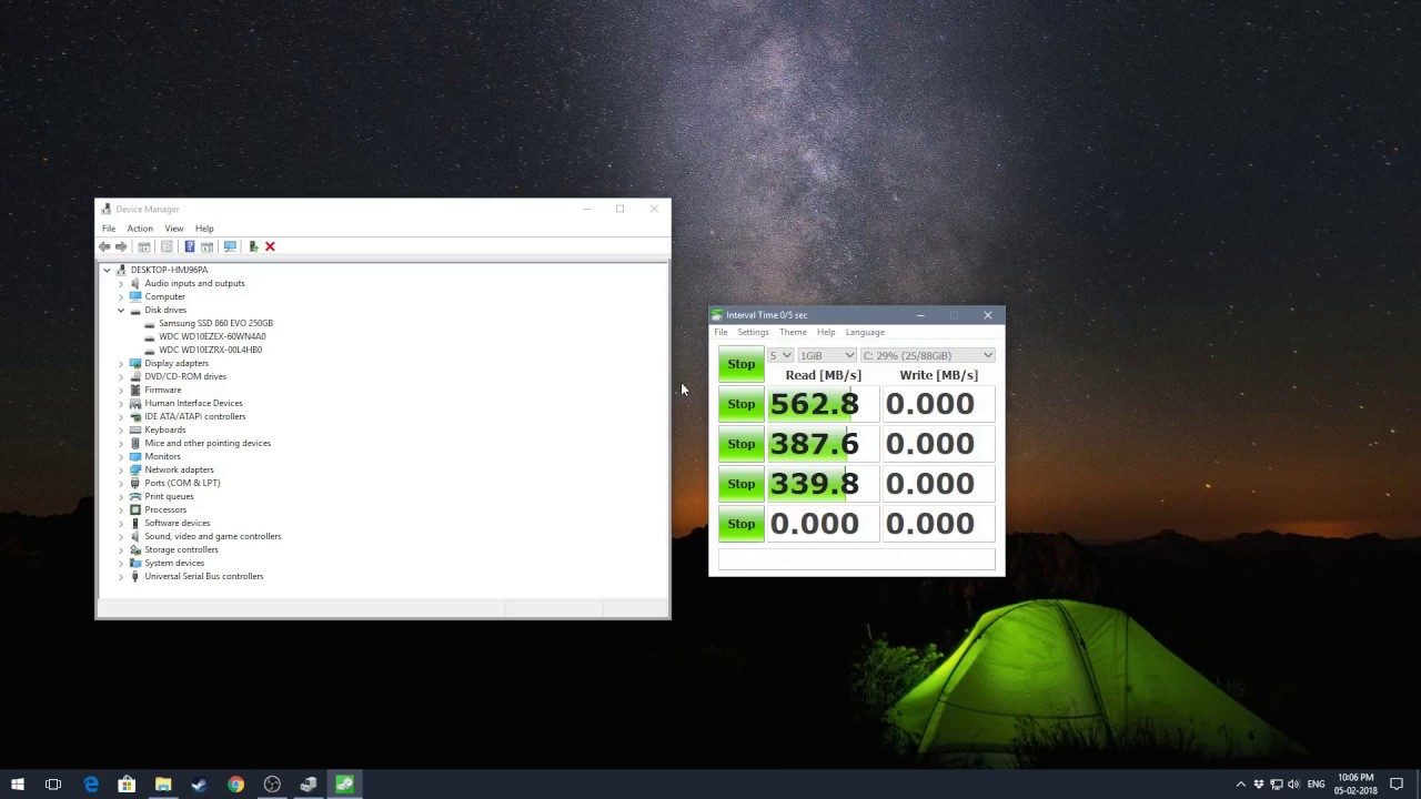 Samsung 860 Evo 250gb Ssd Speed Test Youtube