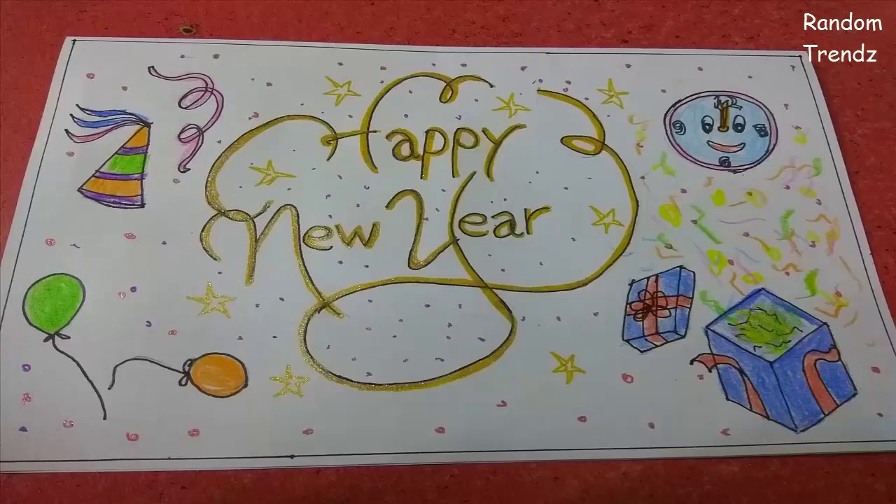 Happy New Year Greeting Card Easy Simple Beautiful Drawing