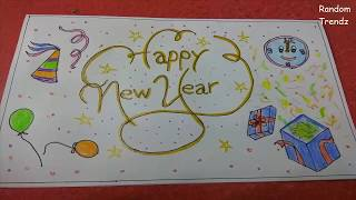 Happy New Year Greeting Card Easy Simple Beautiful Drawing Idea for kids