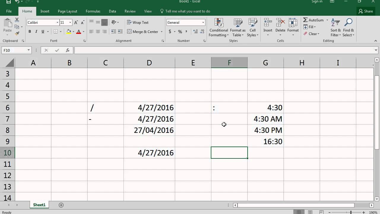 how to add dates in excel 2016