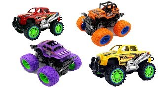 Learn Colors with Monster Trucks Car Toys Vehicles Airplane   Box of Toy Cars for Kids
