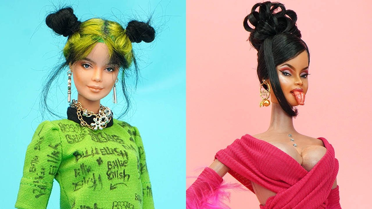 Barbie Doll Makeover ~ DIY Miniature Ideas for Barbie ~ Cardi B, Billie Eilish, Dua Lipa, Rihanna