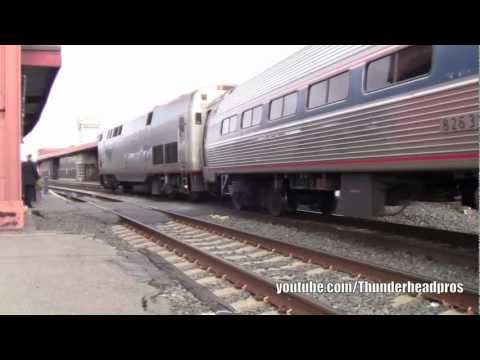 [HD] Springfield, MA- (Amtrak shuttles, Lake Shore Limited, and Vermonters)