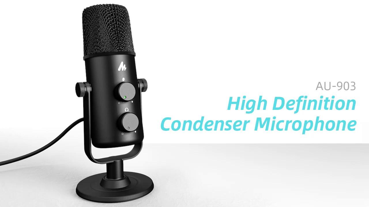 MAONO AU-903 360° Adjustable Cardioid Omnidirectional USB Microphone -  YouTube