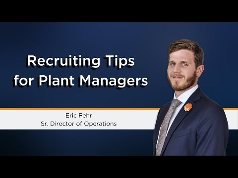 Recruitment For Plant Managers | Manufacturing & Operations