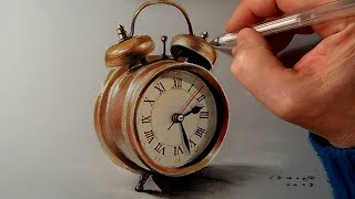 Drawing a Realistic Alarm Clock, Time Lapse