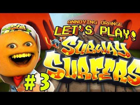 Annoying Orange plays - Subway Surfers #3: Portable Toilets!