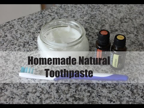 DIY homemade natural toothpaste with essential oils
