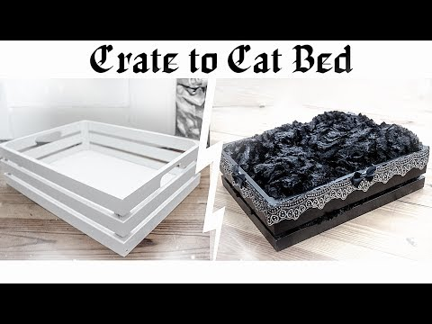 Wooden Crate to Pet Bed Extraordinaire   Goth Decor DIY
