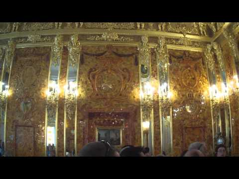 Inside The Amber Room at Catherine Palace in Saint Petersburg, Russia
