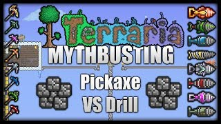 Terraria 1.2.4 Mythbusting || Which Is Faster? Pickaxe Or Drill? [Episode 1]