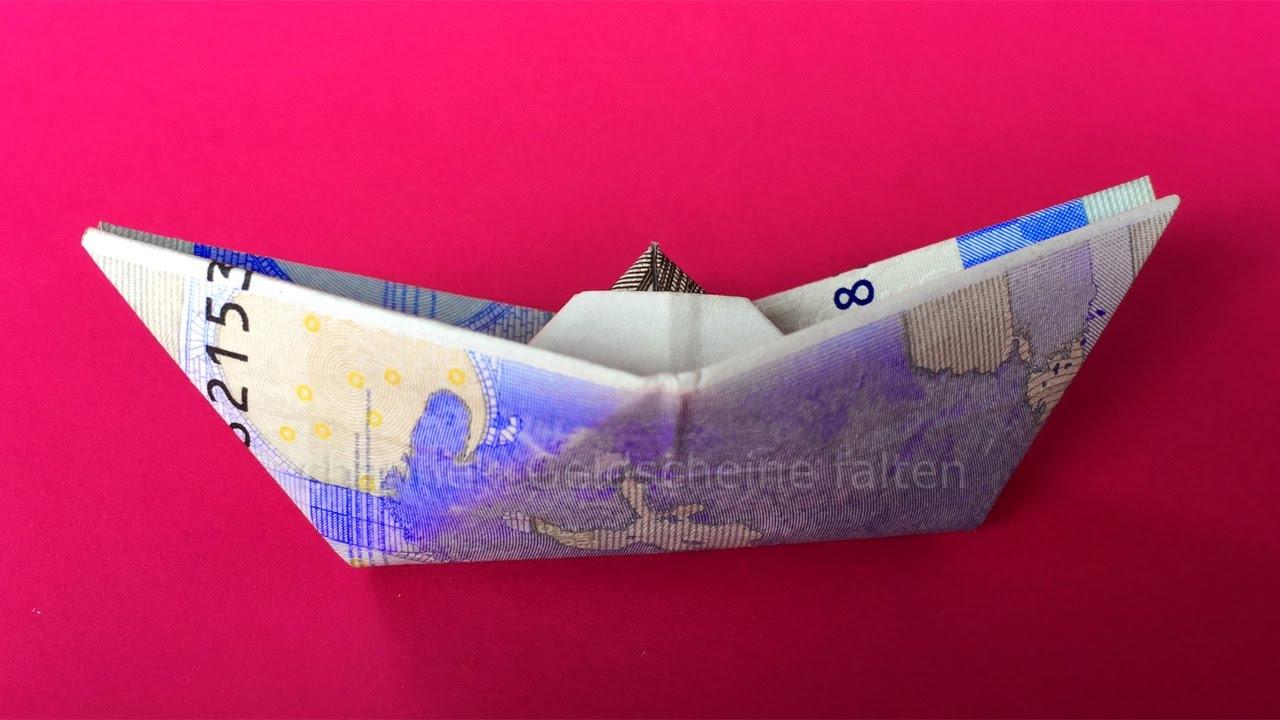 Geldschein Falten Schiff Einfach Geld Falten Zum Geldgeschenke Basteln Origami Boot