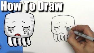 How To Draw a Cute Cartoon Minecraft Ghast - EASY Chibi - Step By Step - Kawaii