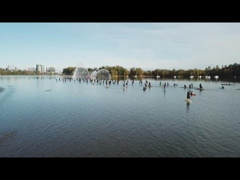 Raw drone video:  2018 Portland Stand Up Paddleboard Witch Paddle