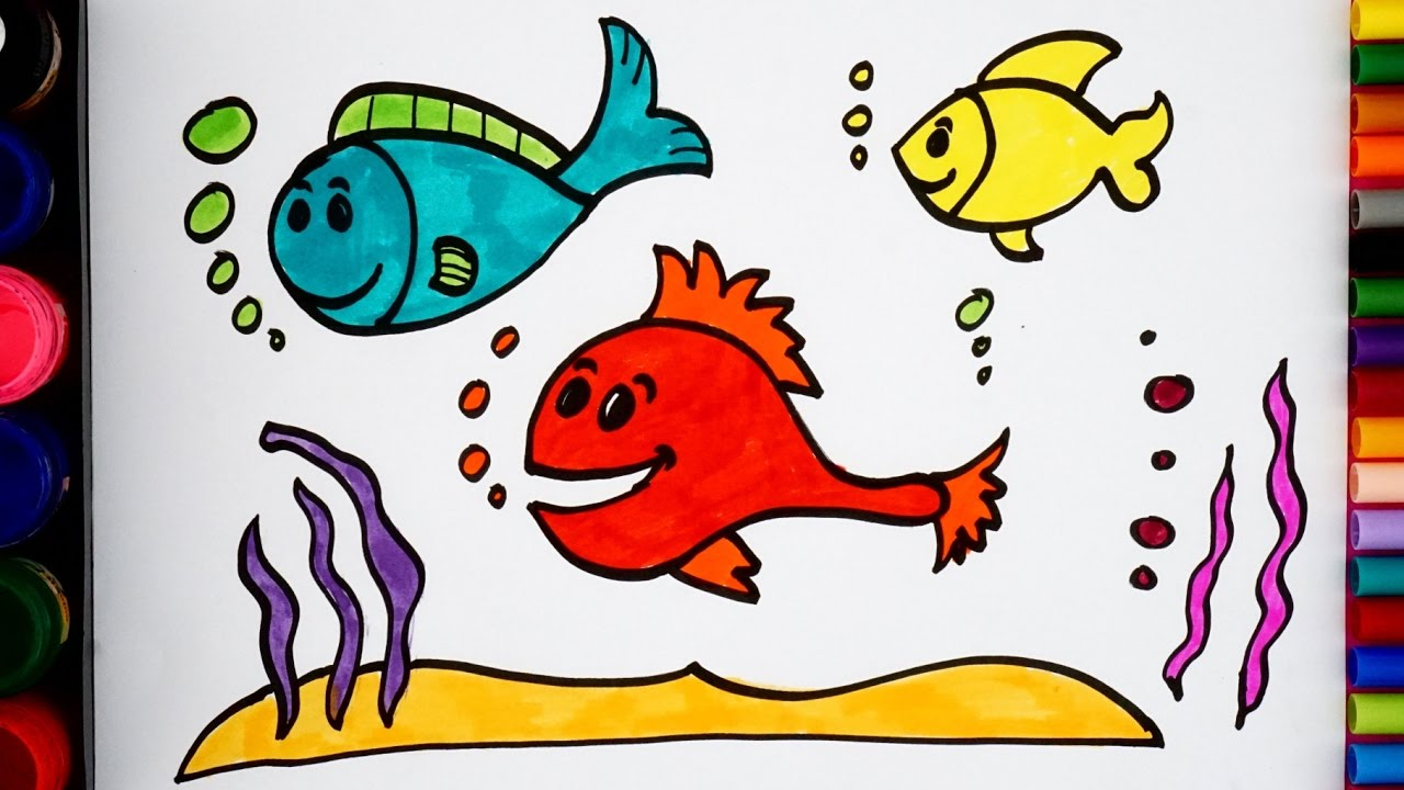 How to Draw Fish and Coloring Sea Fishes for Kids - YouTube