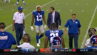 fight breaks out after OBJ is injured by cheap hit vs browns