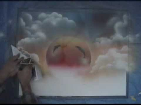 Clouds made easy- spray paint art stencil - YouTube