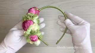 Видео обзор - ободок для волос с цветами