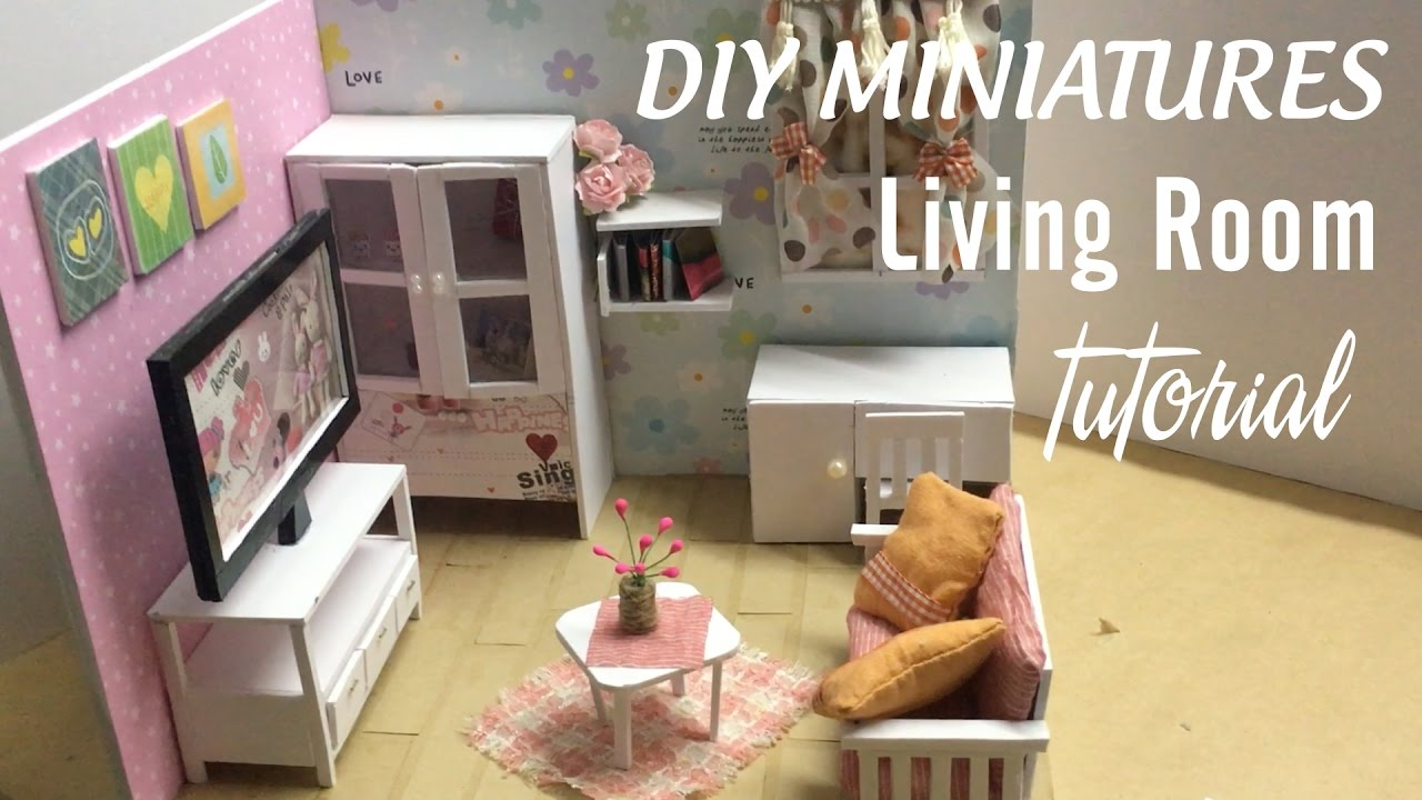 DIY Dollhouse Miniature Living Room | DIY Furniture Set Tutorial ...