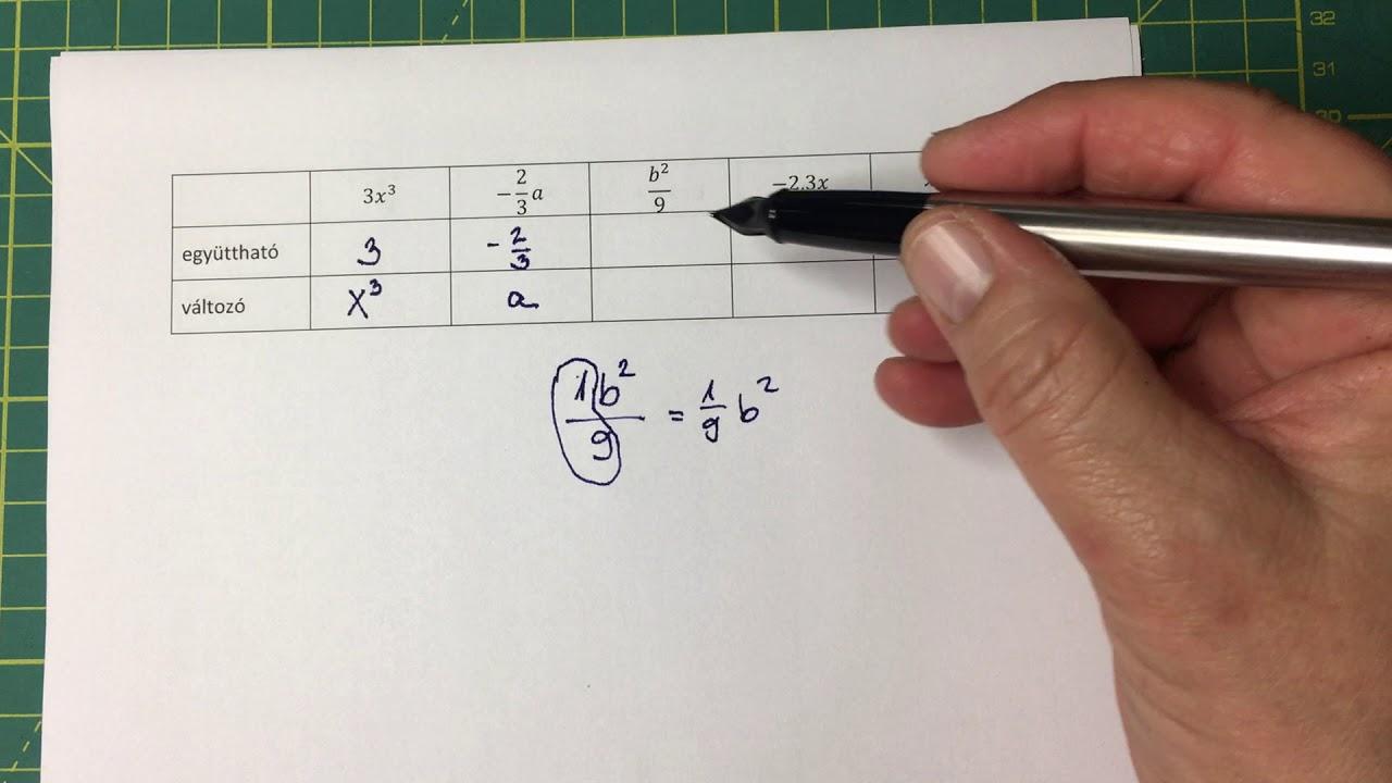 Együttható, változó - algebra 01