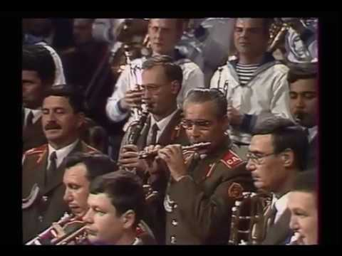 "Massed Bands of the Soviet Army plays march ""The Stars and Stripes Forever"" by Sousa"