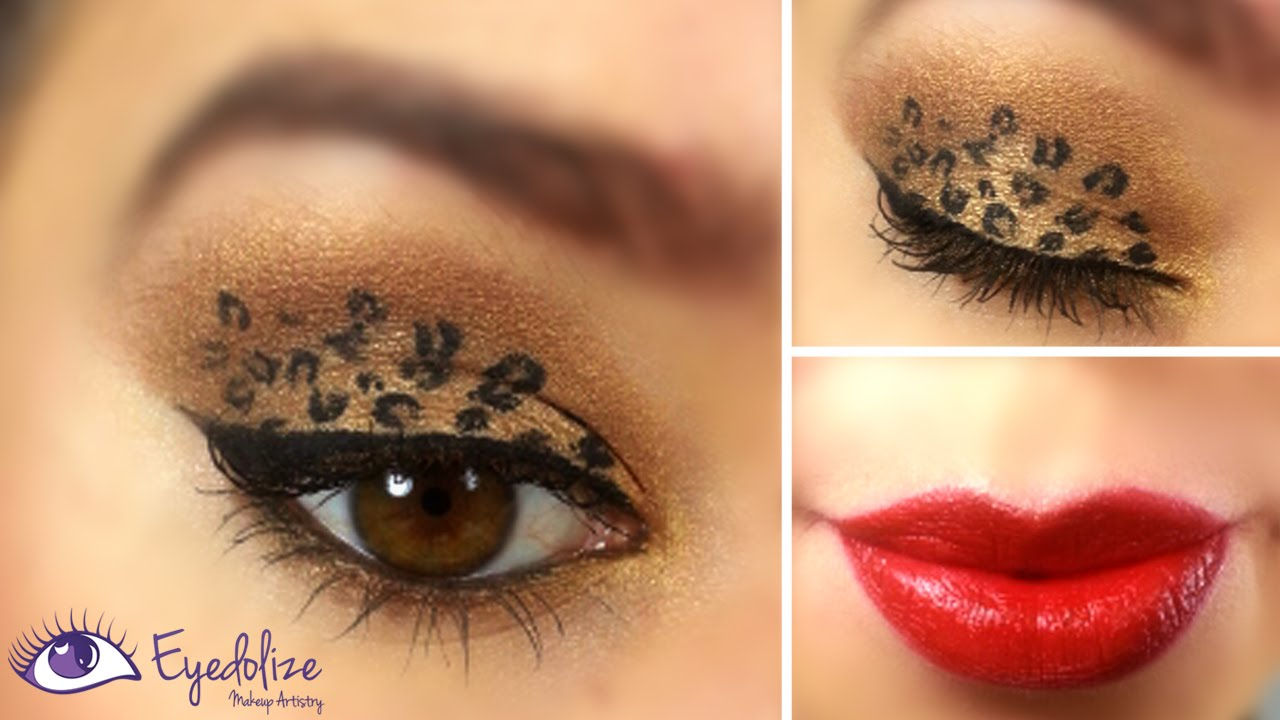 Leopard Eyeshadow Red Lips Tutorial By Eyedolize Makeup Youtube