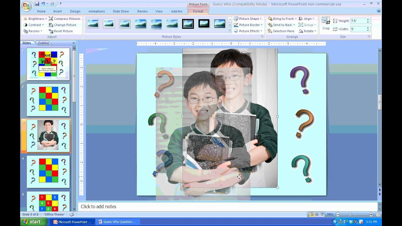 guess who game powerpoint tutorial - youtube, Modern powerpoint