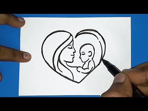 How to draw Mother's day drawing | women's day drawing | How to draw Parents day drawing