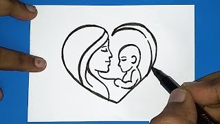 How to draw Mother's day drawing   women's day drawing   How to draw Parents day drawing
