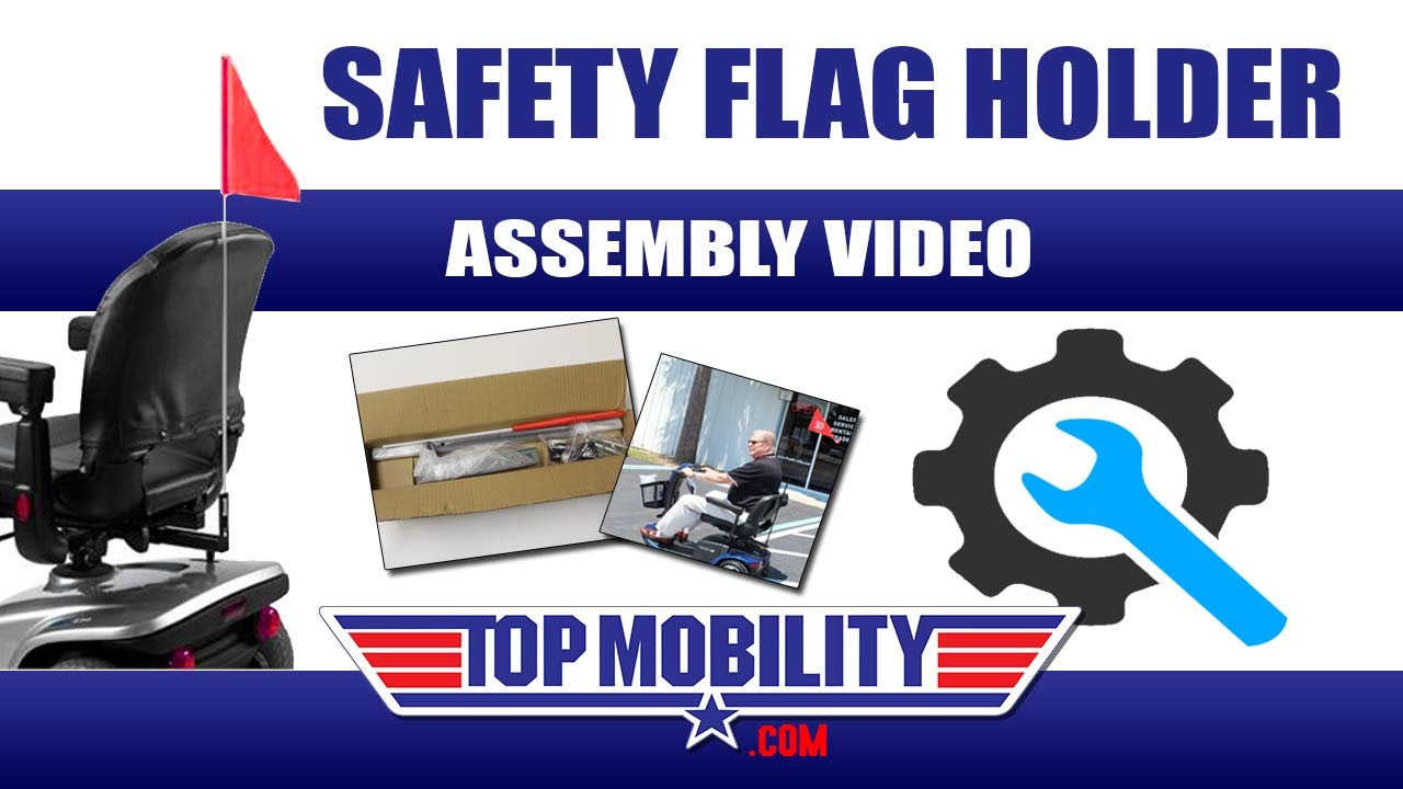 Safety Flag Holder Assembly J125 for most Pride, Golden, Drive, Shoprider  from TOP MOBILITY SCOOTERS