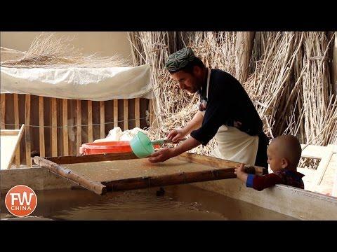 FASCINATING Uyghur Paper Making in Hotan, Xinjiang! Cultural Heritage & Handicraft in Khotan, China