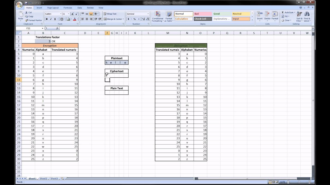Excel - Encryption using Excel ( Great Trick )