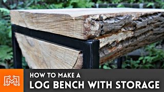 How to make a log bench with HIDDEN storage!