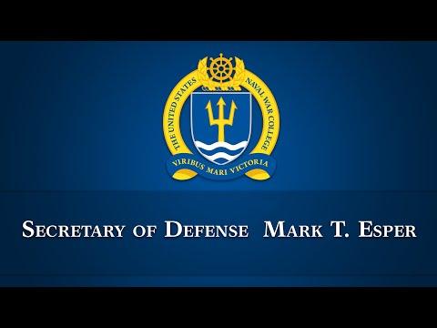 Secretary of Defense Mark T. Esper addresses NWC
