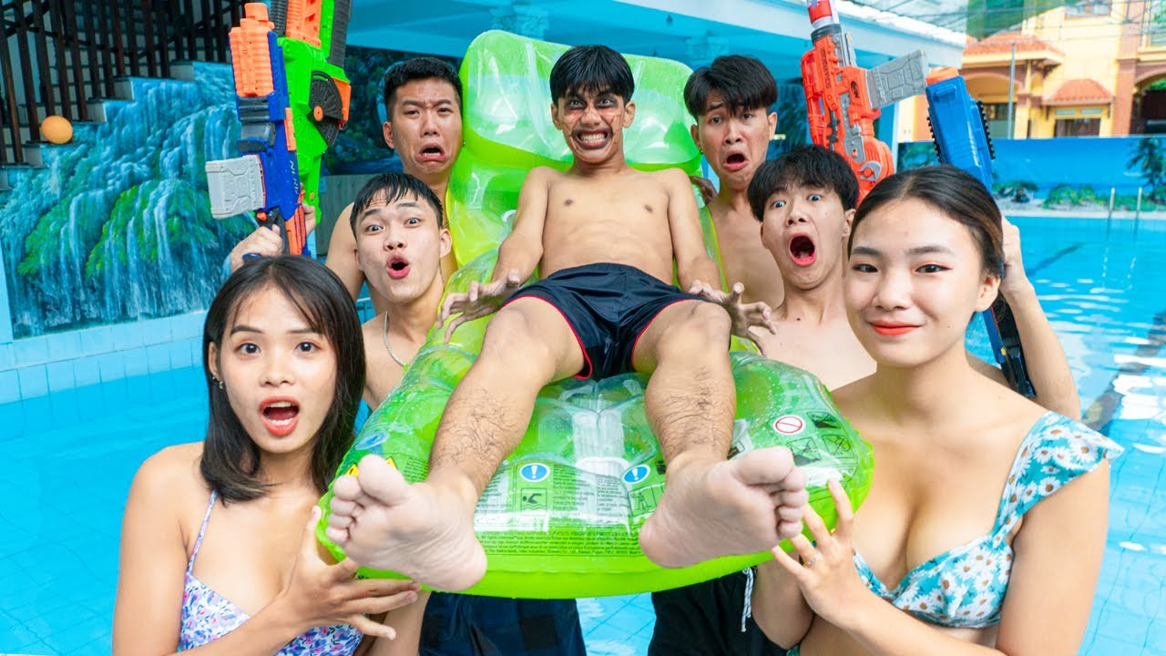 League Nerf War: UNDERWARTER ZOMBIE PRISON ESCAPE BATTLE NERF - Nerf Guns Fight Criminal at Pool