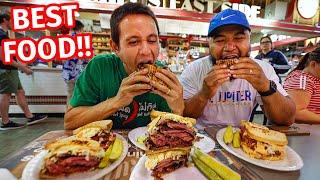 Reading Terminal Market FOOD TOUR  Huge PASTRAMI SANDWICH + Amish Breakfast in Philadelphia!!