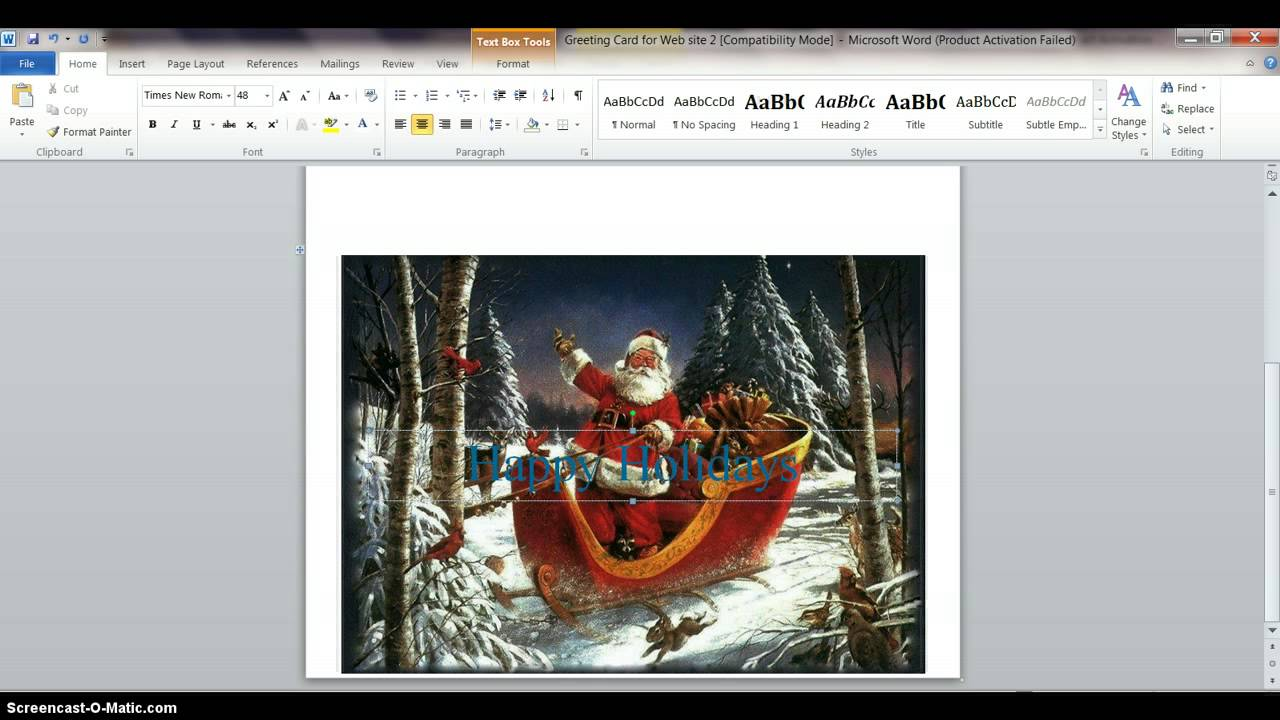 Make A Greeting Card With Ms Word Youtube