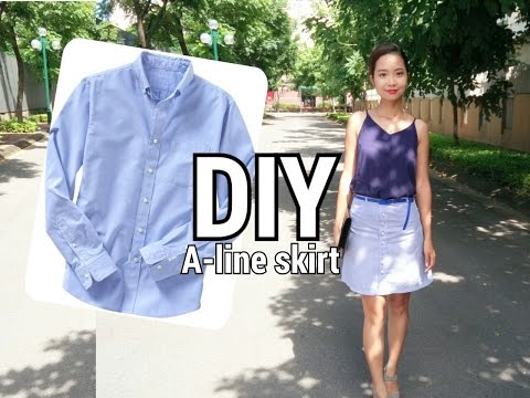 FROM HIS TO HERS| DIY BUTTON FRONT A-LINE SKIRT FROM MAN'S SHIRT