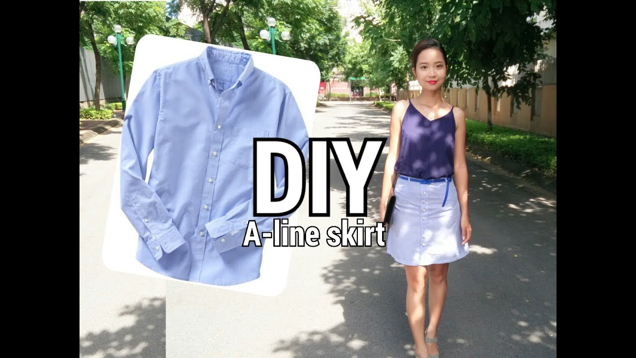 from his to hers diy button front a line skirt from s