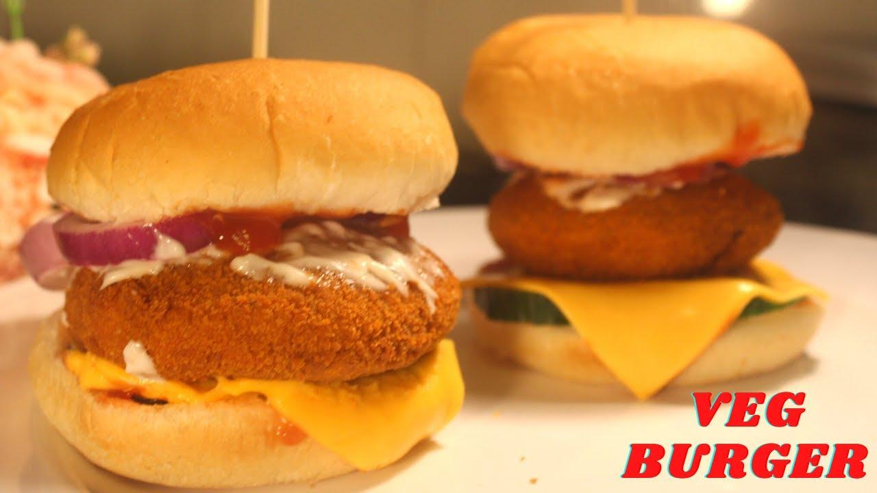 Crispy Veg Burger Recipe Indian Style Veg Aloo Tikki Burger Recipe Mcveggie Style Burger Youtube