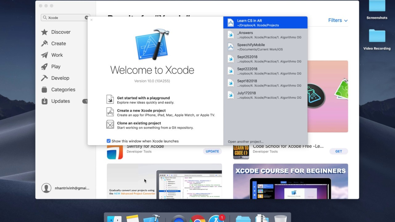 Installing Xcode 10 on MacOS Mojave