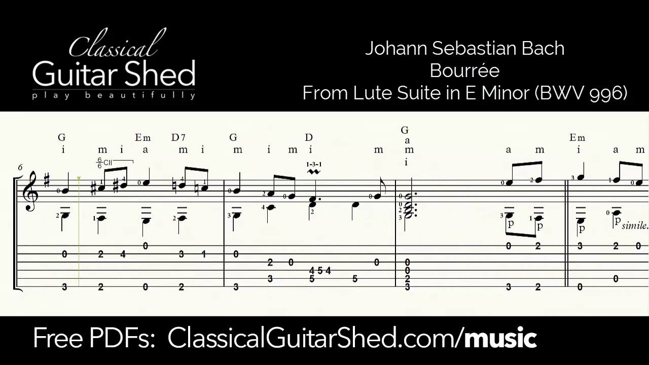 JS Bach: Bourree - Free sheet music and TABS for classical guitar