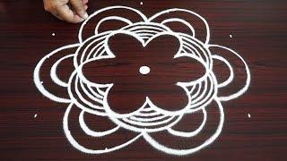 Simple beginners kolam with 7X4 dots | beautiful rangoli designs | easy muggulu designs