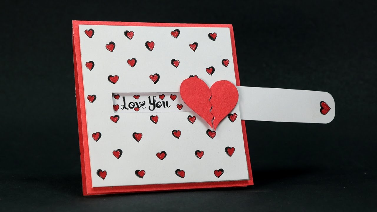 Diy valentine card love slider card tutorial youtube for What to put on a valentines card
